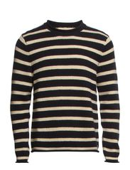 LS STRIPE ROLLNECK - BLACK STRIPE