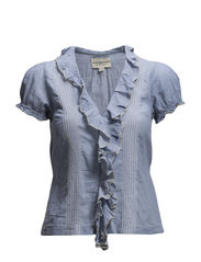 RUFFLE FRONT PINTUCK SHIRT - FADED INDIGO
