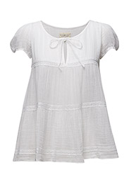 COLBY TIE-SHORT SLEEVE-BLOUSE - WHITE