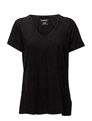V NECK TEE-SHORT SLEEVE-KNIT - POLO BLACK
