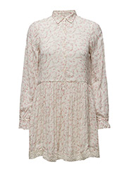 CREPE LONG-SLEEVE DRESS - DOVER FLORAL PINK COMBO