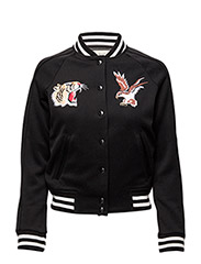 CHEST-PATCH BASEBALL JACKET - POLO BLACK
