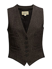 WOOL-BLEND TWILL VEST - BLACK/BROWN