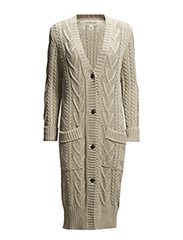 COTTON LONG-SLEEVED CARDIGAN - NATURAL