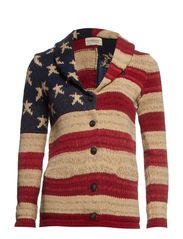 LS SHAWL CARDIGAN - RED/CREAM/BLUE