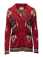 SHAWL BF-LONG SLEEVE-SWEATER - RED MULTI