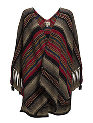 FRINGE STRIPED PONCHO - OMBRE STRIPE