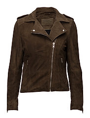 Biker jacket in suede - ARMY GREEN