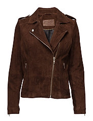 Biker jacket in suede - DESSERT BROWN