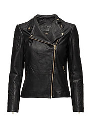 Classic biker jacket with zipper details - GOLD