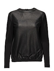 Sporty top with half jersey sleeve - BLACK