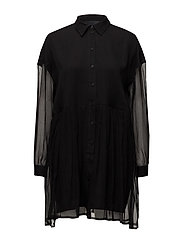 Elise Shirt Dress - BLACK