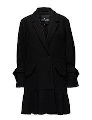 Edith Ruffle Coat - BLACK