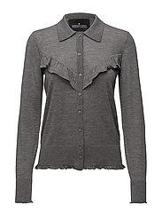 Aza Ruffle Shirt - GREY MELANGE