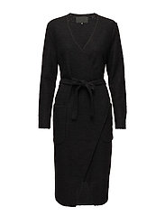 Long jacket Boiled wool - BLACK