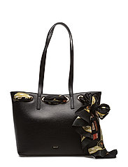 LARGE TOTE W. SCARF - BLACK