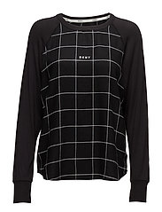 DKNY REWORKED CLASSICS SLEEP TOP L/S - BLACK HERRINGBONE