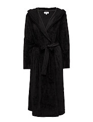 DKNY ELEVATED LEISURE ROBE W/HOOD 117 CM - BLACK