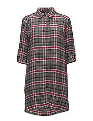 DKNY CHECKED IN SLEEPSHIRT L/SLEEVE - CERISE