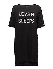 DKNY NEVER SLEEPS SLEEPSHIRT 3/4 SLEEVE - BLACK LOGO
