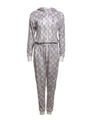 DKNY SNOW DAY ONSIE W/HOOD - GREY HEATHER