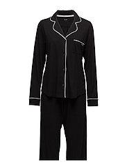 DKNY NEW SIGNATURE L/S TOP & PANT PJ SET - BLACK
