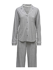 DKNY NEW SIGNATURE L/S TOP & PANT PJ SET - GREY HEATHER