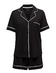 DKNY NEW SIGNATURE S/S TOP & BOXER PJ - BLACK
