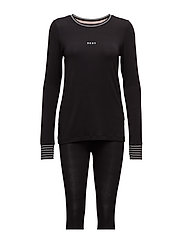 DKNY CITY STRIPES TOP & LEGGINGS PJ SET - BLACK LOGO
