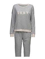 DKNY NEW SIGNATURE L/S TOP & JOGGER PJ - GREY HEATHER