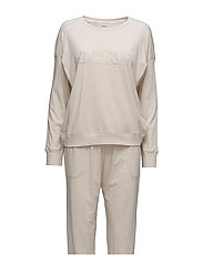 DKNY NEW SIGNATURE L/S TOP & JOGGER PJ - SHELL HEATHER