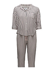 DKNY MODERN ATTITUDE PJ SET 3/4 SLEEVE - POWDER STRIPE