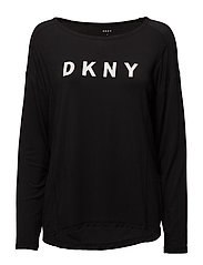 DKNY ELEVATED LEISURE LONG SL. TOP - BLACK LOGO