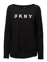 DKNY ELEVATED LEISURE LONG SL. TOP - BLACK LOGO