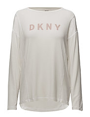 DKNY ELEVATED LEISURE LONG SL. TOP - WINTER WHITE
