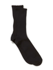 NO ELASTIC COTTON RIB SOCK - Black