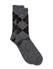 ARGYLE WOOL PLAIN SOCK - Grey
