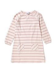 Nadja A-line dress l/s raglan - Pink nude/heather lilac