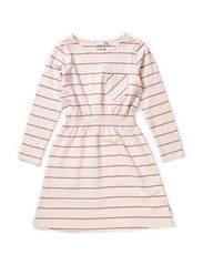 Kajsa dress l/s w waist - Pink nude/heather lilac