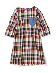 Kristin dress l/s btn up - Tartan blue/green/heather