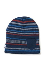 Knot knitted beanie w fleece - Blue/blue/brnd tomato striped pattern knit