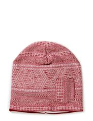 Knot knitted beanie w fleece - Heather/nude pink/offwhite etno pattern knit