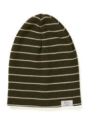 Kev beanie superwash - Moss green/Beige chalk stripes