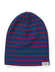 Kev beanie superwash - Steelblue/Burned tomato stripes