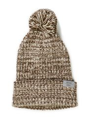 Nod Pom pom, knitted hat - Moss green/beige chalk