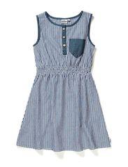 Linda Dress with waist - 74 denim blue/white stripe