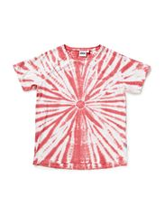 Luck T-shirt s/s tie dye - 19 vintage white/coral circle