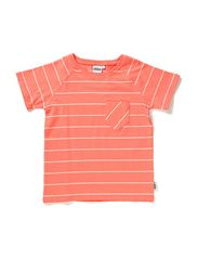 Lores T-shirt s/s - 42 Coral/vintage white stripe