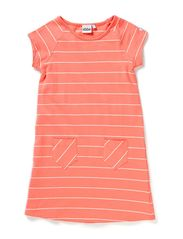 Lina A-line dress s/s - 42 Coral/vintage white stripe