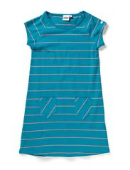 Lina A-line dress s/s - 43 Petrol/coral y/d stripe
